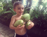 boy picking coconuts