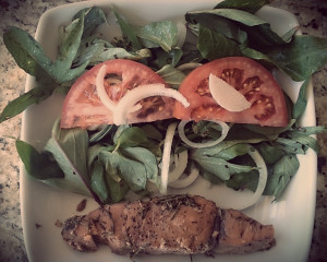 Camote Greens and Fresh grilled Fish