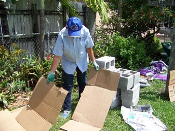 Picture of man laying down cardboard for a raised be garden