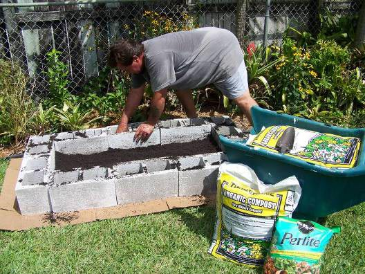 building a raised bed garden using concrete blocks
