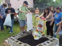 Add the soil to your raised bed