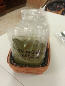 Moringa oleifera powder in sealed bags ready for sale